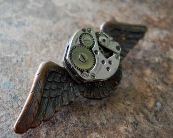 Genuine Vintage Oxidized Copper Steampunk Jr. Test Pilot Lapel Pin EXCLUSIVE DESIGN by Enchanted Lockets Only, Unisex Styling