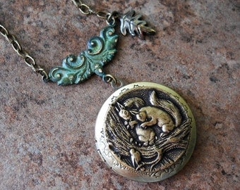 Woodland Squirrel Locket in Brass-EXCLUSIVE DESIGN