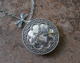 Dragonlfy Locket in Silver by Enchanted Lockets