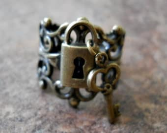 Lock and Key Steampunk Ring in Brass  EXCLUSIVE DESIGN