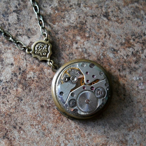 Steampunk Splendor Vintage DOUBLE SIDED Enchanted Locket Necklace Exclusive Design Only by Enchanted Lockets