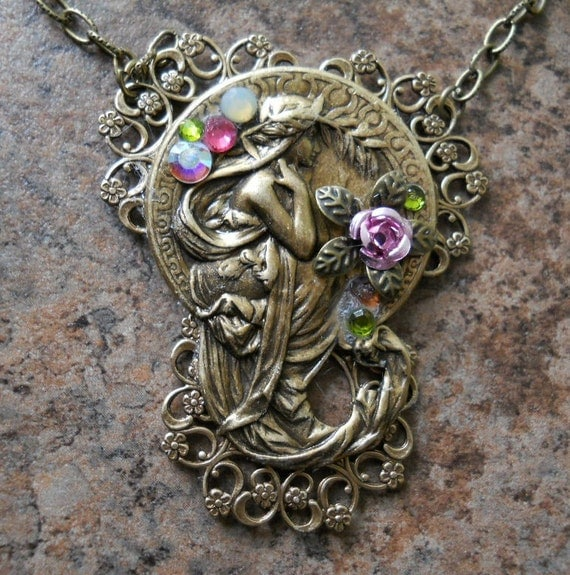 "Alphonse Mucha Antiqued Brass ""Poetry"" Necklace"