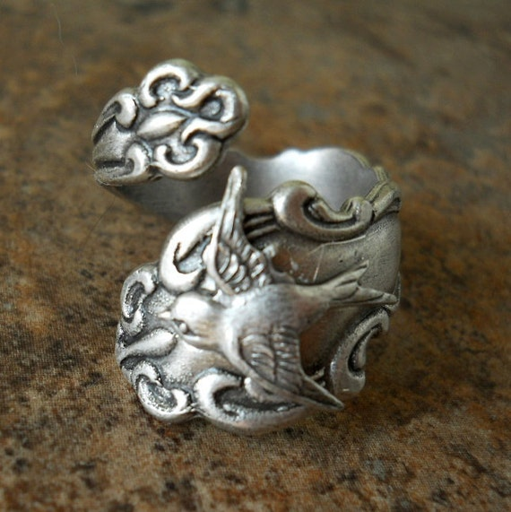 Bird Spoon Ring,The ORIGINAL Silver Spoon Ring with Swooping Sparrow,*** Exclusive Design Only by Enchanted Lockets