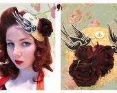 Rockabilly Tattoo Style Fascinator - featuring roses, vintage style swallows and anchor button