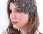 Handsewn Fascinator - Guinea Fowl Feather Skullcap