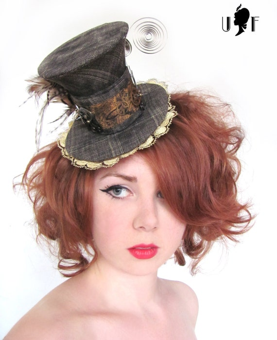 Handsewn Miniature Steampunk Tophat with Clock Faces, Cogs, Feathers and Lace