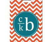 Personalized luggage tags Chevron stripe Tangerine and teal custom monogram Set of Two