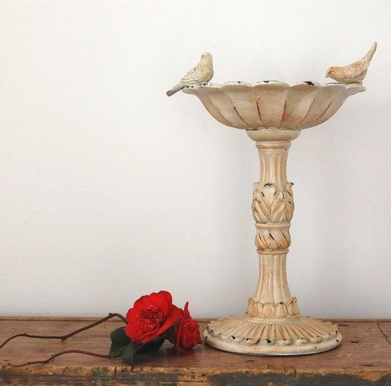 Vintage bird bath feeder garden decor sparrows little white
