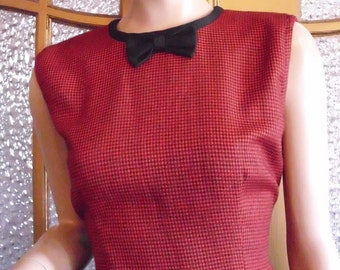Red Houndstooth Dress with Bow