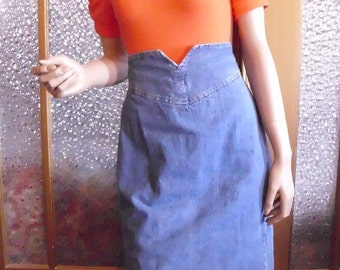 80s High Waisted Denim Skirt