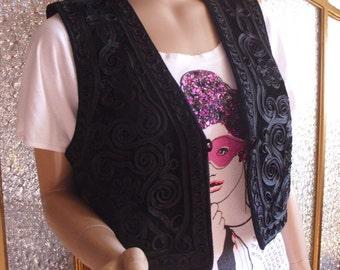 Small Black Ribbon Embellished Vest