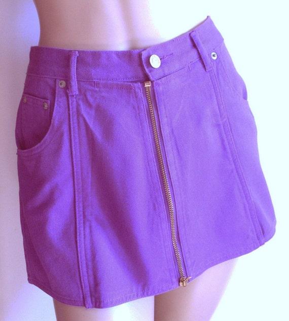 Small Purple Zip Front Mini-Skirt