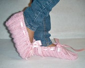 SweetCotton Candy Pink-Hand Knit-Toesie Warmers-Rib Slippers-Pink Satin Bow-Adult
