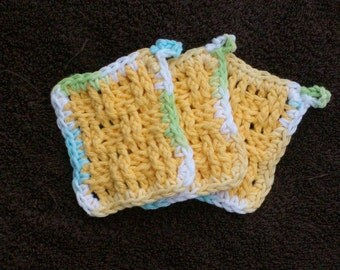 Square textured facial scrubbie or little hands washclothes. Set of 3. Hand crocheted. 100% cotton