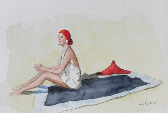 Woman on Beach - Original Watercolor Painting - 4x6