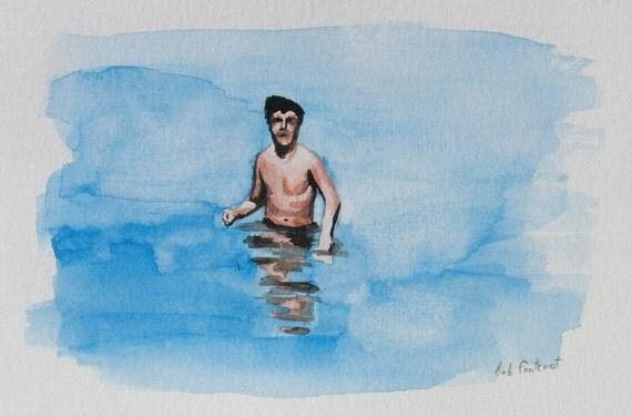Man in the Ocean - Original Watercolor Painting - 4x6