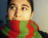 Hand knit Scarf, Green and Red Striped Scarf, Acrylic Scarf, Acrylic Yarn
