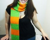 Hand Knitted Scarf Bright Green and Orange Ready TO SHip