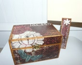 Recipe Box Beautiful Design White flower butterfly
