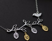 Personalized Jewelry. Family Tree. Silver Necklace, Mother Bird and Branch Necklace, STERLING SILVER necklace, Family initials