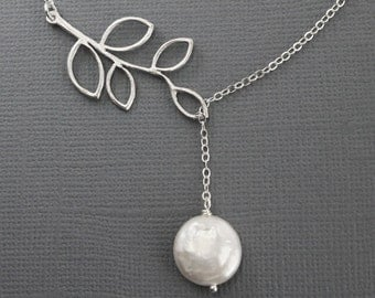 Branch and Pearl Jewelry, Wedding Jewelry, Silver Lariat Necklace, Y Necklace, Coin Pearl,  STERLING SILVER Jewelry, anniversary gift