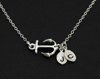 Personalized Sideways Anchor Necklace, Couples Necklace, Sisters Necklace, Nautical Necklace, For Couples, Gifts under 30, Navy Gift