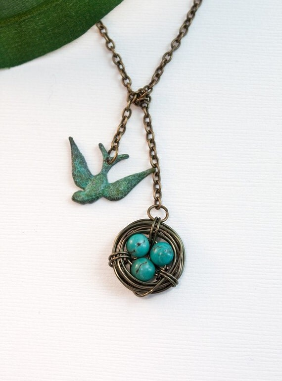 Antique Brass Necklace, Turquoise Bird Nest Lariat Necklace, Turquoise Eggs 1 to 5, Custom Jewelry,  Mother's Birthday, Baby Shower Gift