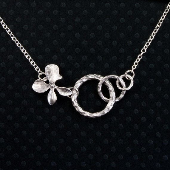 Silver Orchid Flower and Three Ring Necklace, Bridal jewelry, Birthday Gift (WN13)