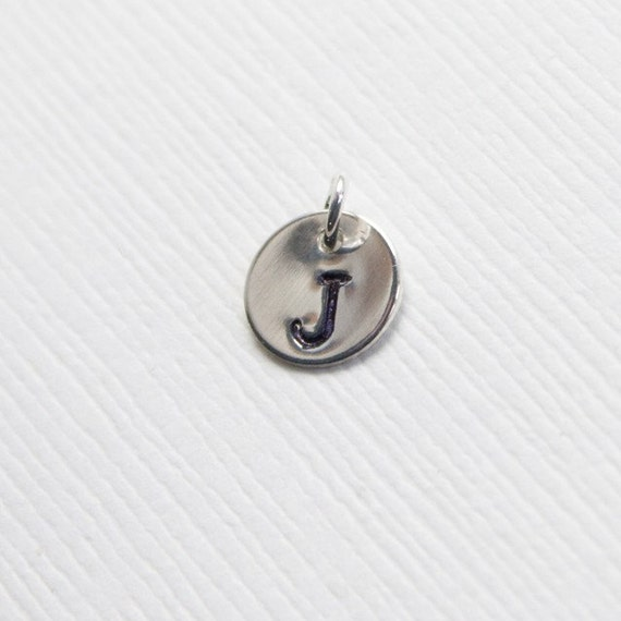 Sterling Silver Disc, Personalized, Hand Stamped Letter