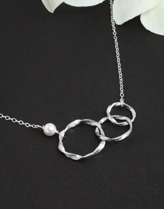 "Silver Jewelry - ""Trio Hoop"", with Sterling Silver Chain"