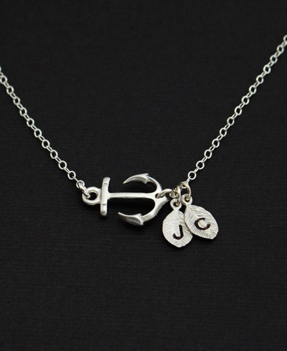 Silver Anchor Necklace, Couples Necklace, Personalized Sisters Necklace, Sideways Anchor Necklace, For Couples, Gifts under 30, Anchor Charm