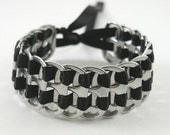 black recycled pop tab bracelet - stacked weave,  7  inch -  woven bracelet, upcycled bracelet, soda tab bracelet ,pull tab bracelet