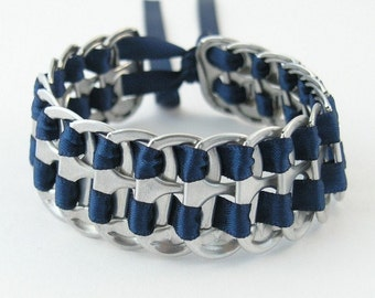 dark blue recycled pop tab bracelet - stacked weave, 7 inch - woven bracelet, upcycled bracelet, soda tab bracelet ,pull tab bracelet