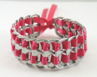 hot pink pop tab bracelet 7 inch, stacked weave bracelet, soda tab bracelet, can tab bracelet, upcycled bracelet, recycled bracelet