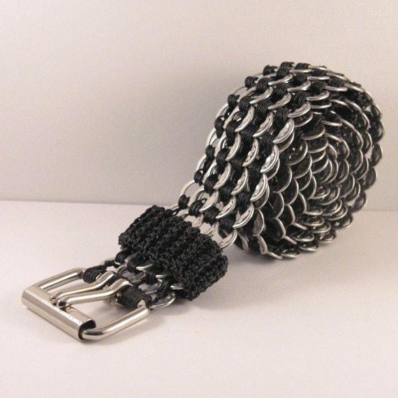 pop tabs belt - black, crochet, regular, 39 inch