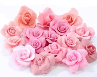 Miniature Roses Polymer Clay Flowers & Beads Supplies 100 pcs