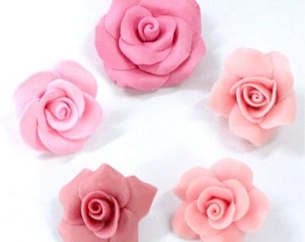 Miniature Roses Polymer Clay Flowers & Beads Supplies 10 pcs