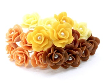 Miniature Roses Polymer Clay Flowers Supplies 12 pcs.