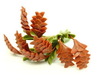 Miniature Polymer Clay Supplies Pine cone  with set of leaves, 3 stems