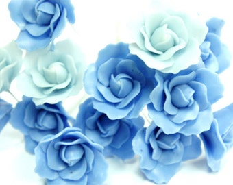 Handcrafted Miniature Two Tone Blue Roses Polymer Clay Flowers Supplies 12 stems