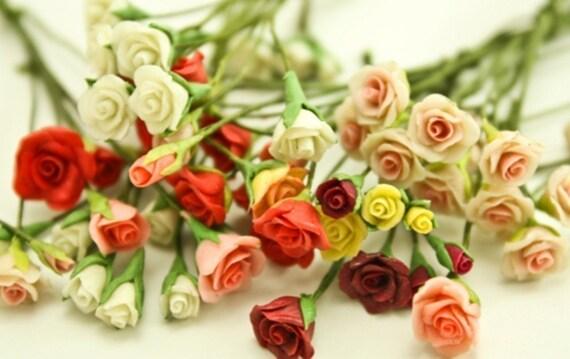 Miniature Rose,1 bud-1 half blossom-1 blossom for 1.0 USD, set of 12 bud-12 half blossom-12 blossom , total 36 stems