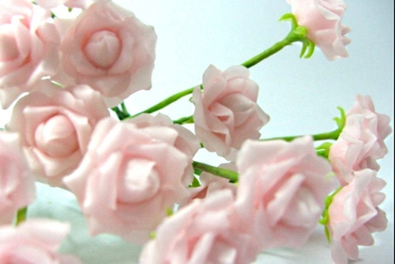 Miniature Polymer Clay Flowers Bridal Pink Roses with Leaves, set of 6 stems