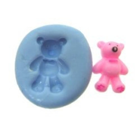 Teddy bear flexible mold mould for miniature dessert cake ice cream decoration jewerly pendant (polyer paper resin clay wax Fimo)