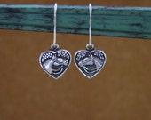Horse Head in a Heart Earrings .925 Sterling Silver,Equestrian Gifts