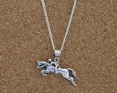 """Hunter Jumper Pendant  with 18"""" Chain Equestrian Sterling Silver"""