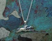 "Race Horse Jockey Longchamp Design  Pendant with 18"" Chain   Equestrian Jewelry"