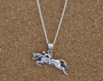 "Hunter Jumper Pendant  with 18"" Chain Equestrian Sterling Silver,Equestrian Jewelry"