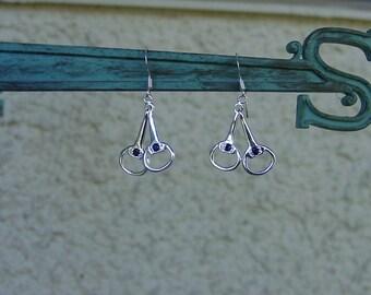 Snaffle Bit Sapphire Earrings Sterling Silver Equestrian Jewelry Horse Earrings