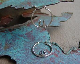 Equestrian Jewelry Horse Shoe  in Hoop Earrings Sterling Silver,Horseshoe Earrings