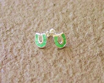 Emerald Gemstone Horse Shoe Sterling Silver Stud Earrings Equestrian Jewelry Horseshoe Earrings